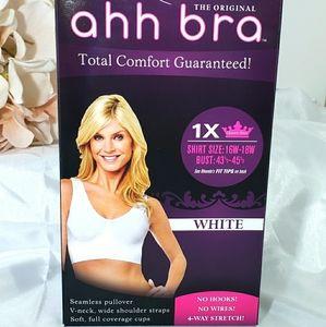 Ahh Total Comfort Bra White 1X Brand New 1X